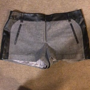 Pants - Leather detail shorts